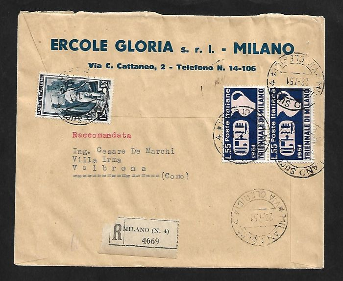 """Italy, Republic, 1950/1951 – """"Italia al Lavoro"""" (Italy at Work), 15 lire and Triennale Milan, 55 Lire, pair, on registered envelope from Coma to Milan – Sassone no. 648 and 667"""