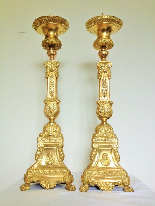 Pair of large, gold-plated church candlesticks - Belgium (Antwerp) - late 18th century