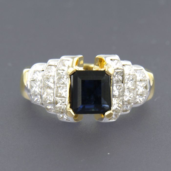 18 carats Or blanc - Bague - 2.00 ct Diamant - Saphir