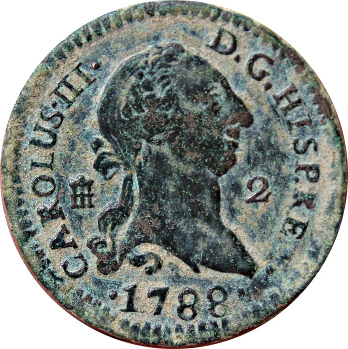 SPAIN. CARLOS III (1759-1788) 2 Maravedis struck in the year 1788, in Segovia. Last year of reign