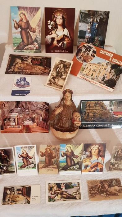 Interesting religious lot of Santa Rosalia, patron saint of Palermo - stoup, postcards, holy cards and one booklet