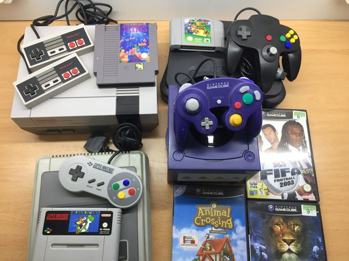 Lot 4 Nintendo Game Console + Games. Nes + Snes + N64 + NGC