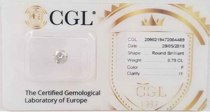 0.70 ct - Natural White Diamond - F Color - I1 - VG/EX/VG - NO RESERVE!
