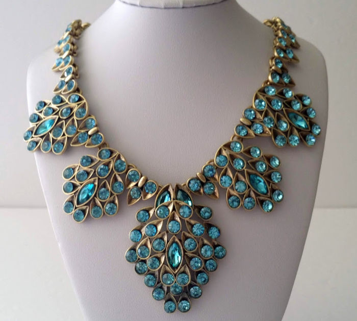 Oscar De La Renta - Blue Swarovski Crystal Bib Necklace