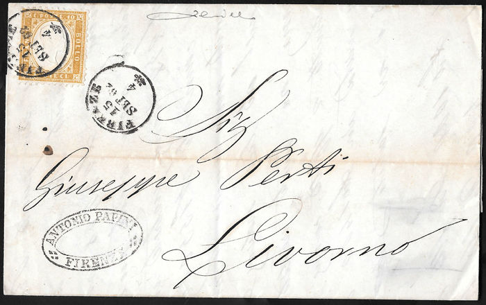 Italy, Kigndom, 1862 – 10 cent yellowish bistre, used on letter from Florence to Livorno – Sass. no. 1