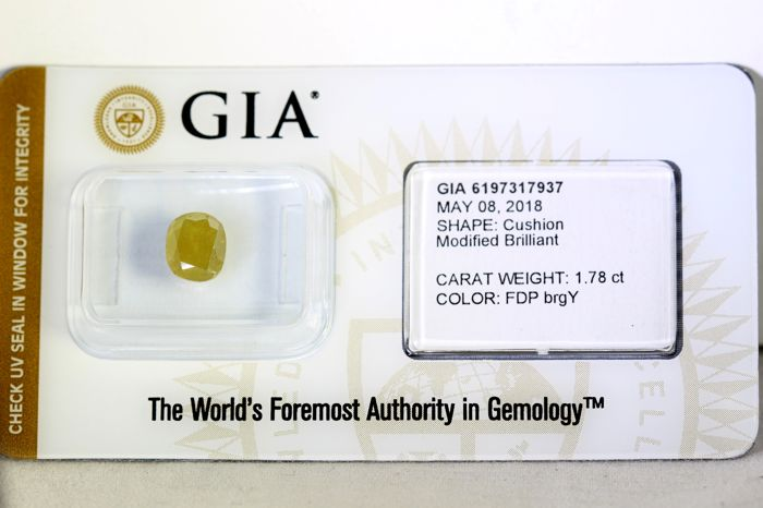 GIA Sealed Diamond - 1.78 ct - Fancy Deep Brownish Greenish Yellow