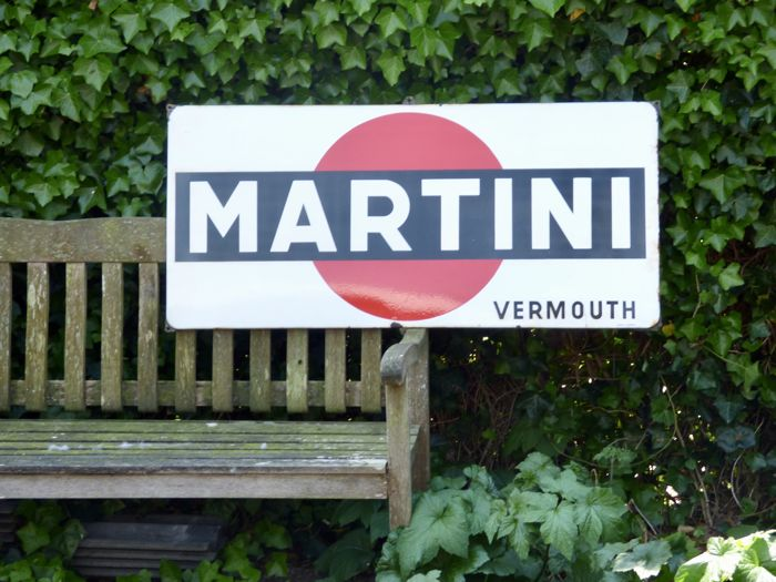 """Emaille reclamebord Martini Vermouth """"langcat bussum"""""""