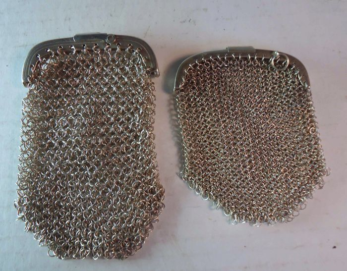 lot of 2 purses in solid silver, Lisbon hallmark crown, the other one boar, from Portugal
