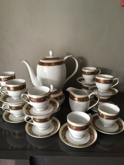 Medea - Fine Royal Porcelain - set of coffee cups - complete, for 12 people - By Monno