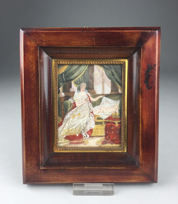 Marie Louise and Napoleon II - miniature painting in frame - France - 1st half 20th century
