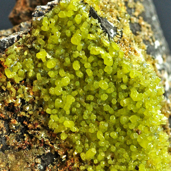 Sparkling yellow green Pyromorphite crystals on matrix - 10.3 X 6.7 X 2.3 cm - 147 gm