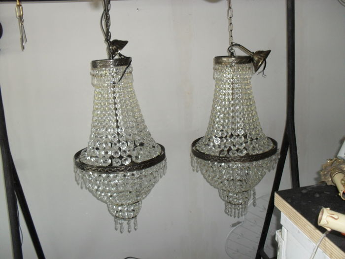 Set of basket chandeliers - 1970 - Belgium - crystal and brass