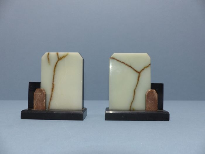 Art Deco; set of stone/marble bookends - 1st half of the 20th century