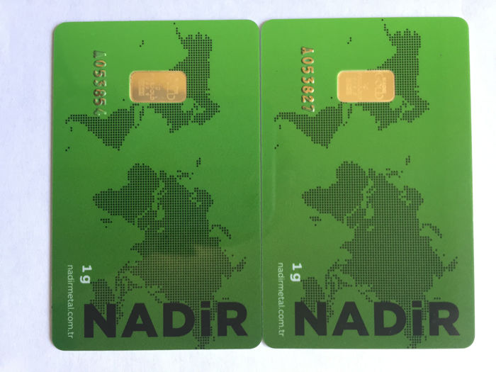 Nadir- 2 x 1 g. - 999.9- Minted- Sealed.