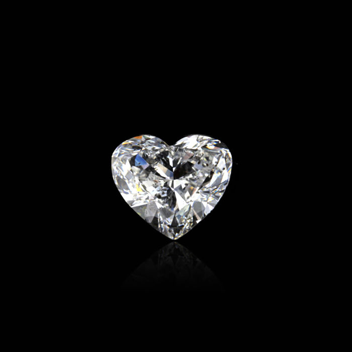 0.85 Ct. Natural D Color SI2 Heart shape Diamond.