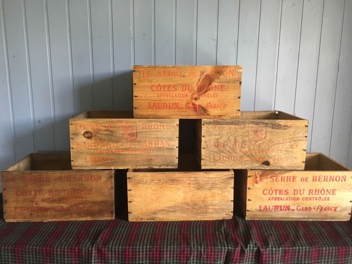 6 rustic french boxes