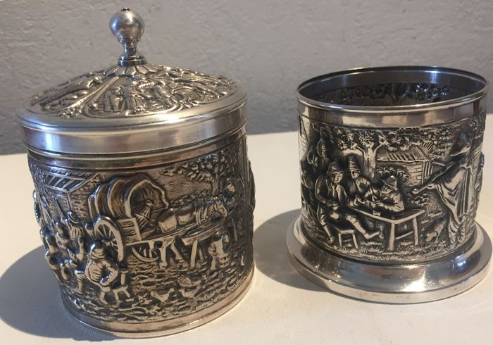 Silver plated Douwe Egberts tea box, & silverplated Dutch Spoon cup Douwe Egberts Rural scenes