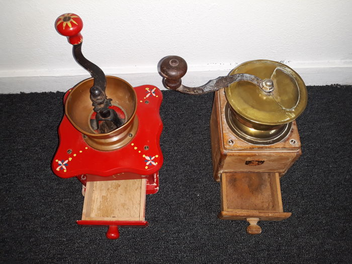 Lot of 2 antique coffee grinders ,both are different editions.  Beautiful as a decoration!