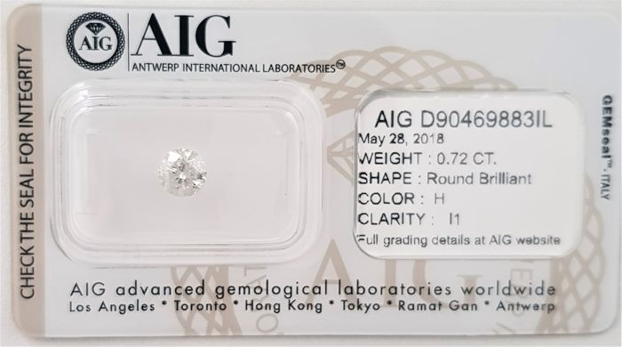 0.72 ct - Natural White Diamond - H Color - I1 - VG/VG/VG - NO RESERVE!