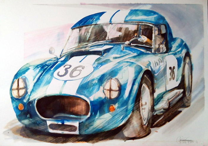 Shelby Cobra - Original Watercolour - 50 x 70 cm - By Gilberto Gaspar