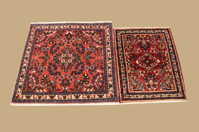 2 x Persian Sarough approx. 75 x 60 and 87 x 82 cm