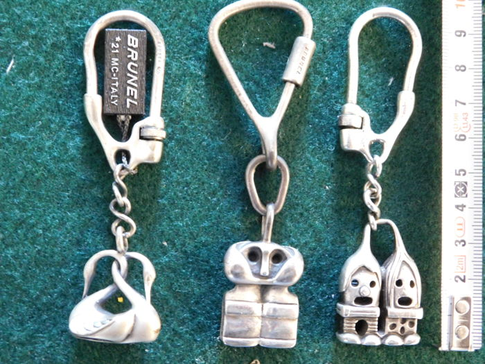 Lot of 3 Keychains in silver 925 - by Brunel - vintage items from the 1970s