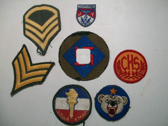Lot of WWII US Army Patches with rare 45th infantry divisionRARE 45th I