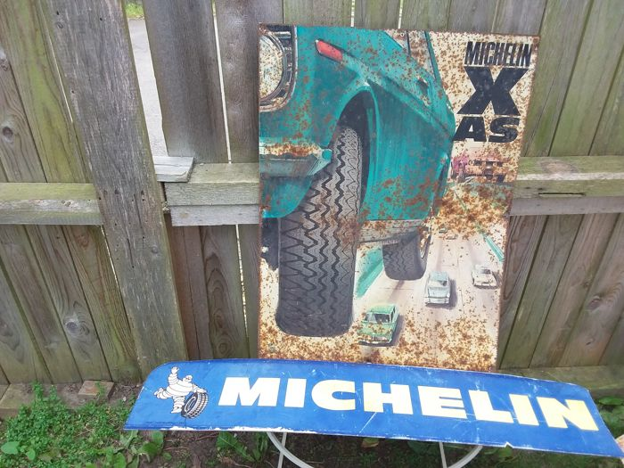 Large metal tin sign michelin x axis double-sided plastic michelin sign France - 1955 1995.