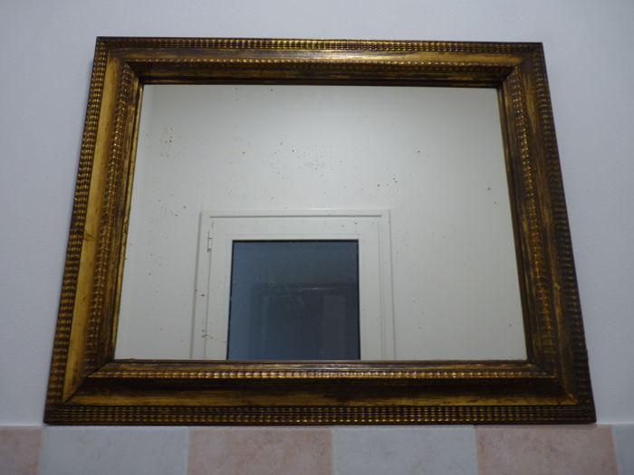 Old mirror in gold plaster - Italy - 20th century - 63 x 79 cm