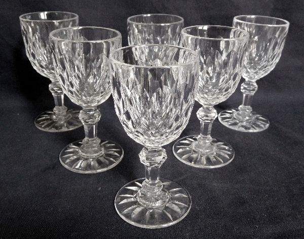 Baccara 6 White wine / port glasses in cut crystal, model Juvisy, the service of the Elysée Palace, Presidency of the French Republic
