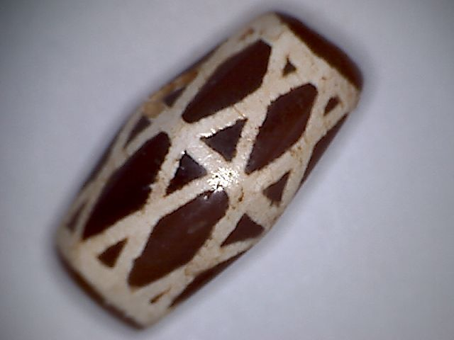 A rare , beautiful dyed canelian bead with special design - 24 X 13 mm