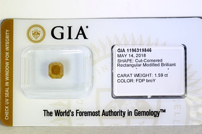 GIA Sealed Diamant - 1.59 ct - Fancy Deep Brownish Orangy Yellow