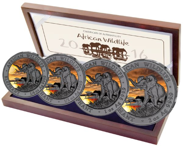 375 Shilling - Somalia - African Somalia Wildlife Sunset Set, 2016, 1/4 oz - 2 oz Silver, Ruthenium, Coloured