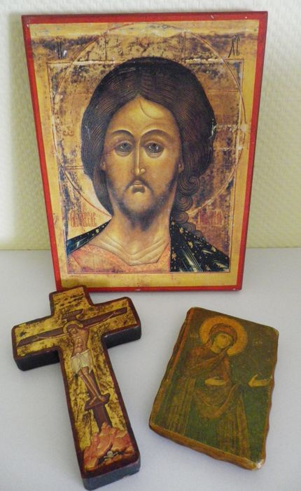 Lot of 3 Russian icons - pious christian object - 20th century