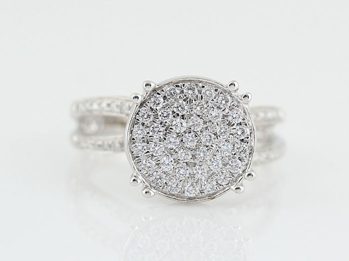14 kt white gold diamond ring 0.44 ct G-H VS-SI / Weight: 4.40 g / ring size: 54
