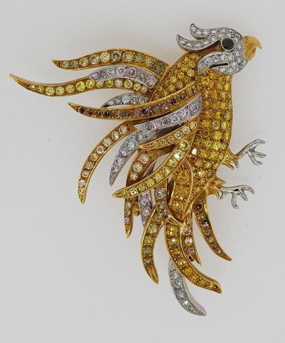 Unique handmade AIG certified 18 kt white/yellow gold brooch set with natural white and colored diamonds