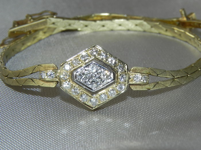 No Reserve  - 14 kt. Yellow gold - 14 kt 585 Weißgold Armband mit 26 Brillanten 0,52ct  VS-SI Diamond