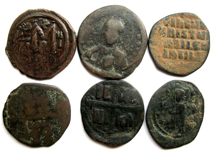 Byzantijnse Rijk - 6 AE Folles, different emperors, 610-1067 AD