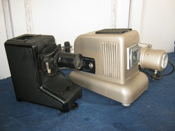 Lot of two slides for projectors one by Simplex, 1940s and one by Sirio, 1950s