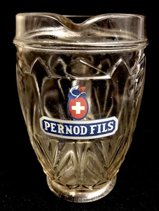 A n Art Deco  ,   french , advertising , PERNOD FILS , ABSINTHE  , large , glass , water pitcher