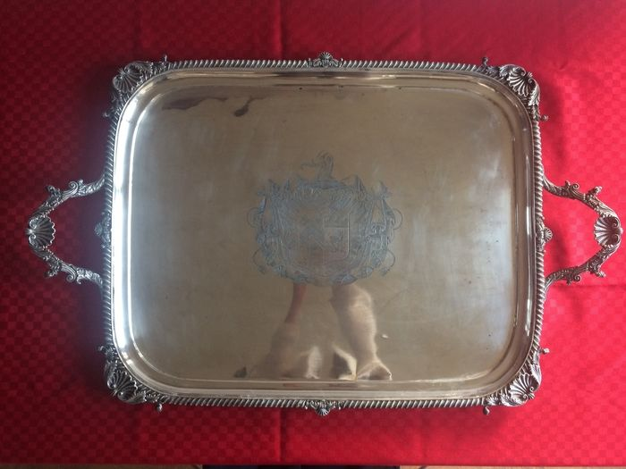 George III silver tray - Thomas Robins - London - 1810-1811