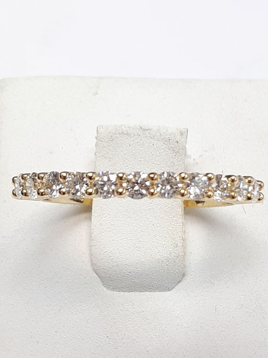 14k yellow gold eternity ring & 11 stones 0,48ct natural diamonds - size 54