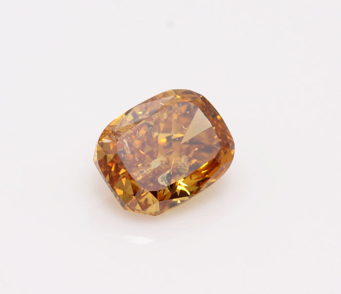 GIA certified Natural Fancy Deep Brownish Yellowish Orange Even Cushion-Modified-Brilliant 1.02ct
