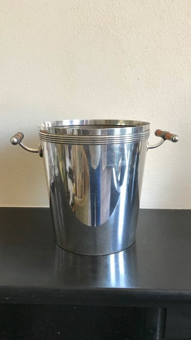 Christofle Laque de Chine - A silver plated Champagne cooler with 2 handles