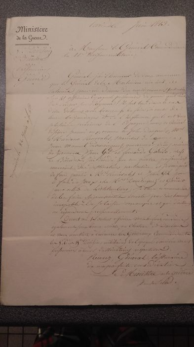 LAS from the Marshal Clark Duke of Feltre Minister of war period of Napoleon I, letter from 06/1813.