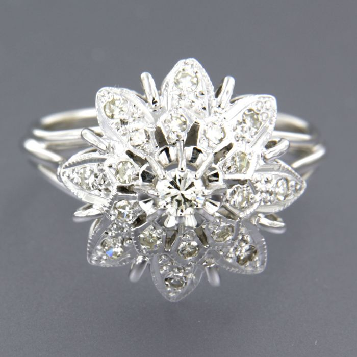 14 kt white gold ring set with a brilliant cut and 18 single cut diamonds of approx. 0.30 ct in total