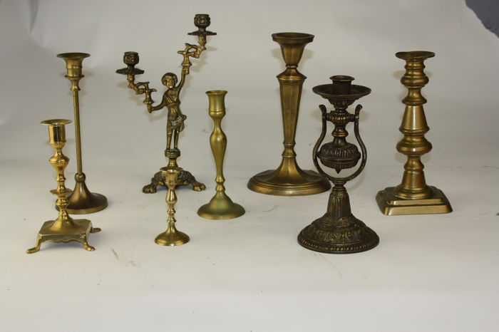 Eight old bronze and brass candlesticks - 19th and 20th century