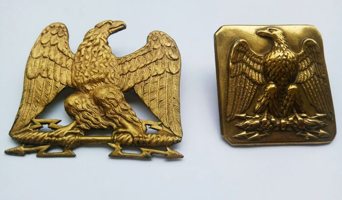 Rising eagle officer collar 1st Empire and belt buckle eagle officer 2nd Empire - France 19th century