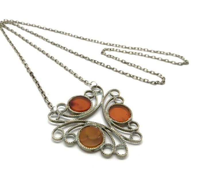 Antique openwork pendant with natural Baltic Amber & necklace - cognac colour - not pressed, not enhanced