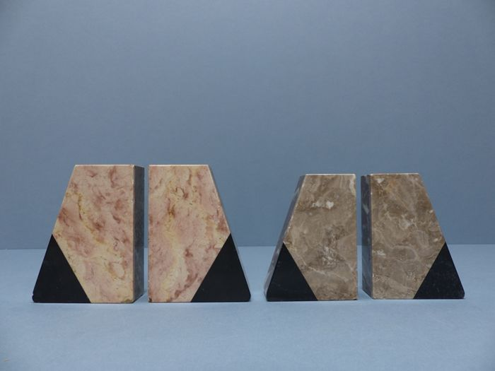 Art Deco style, two sets of natural stone/marble bookends - 1st half of the 20th century